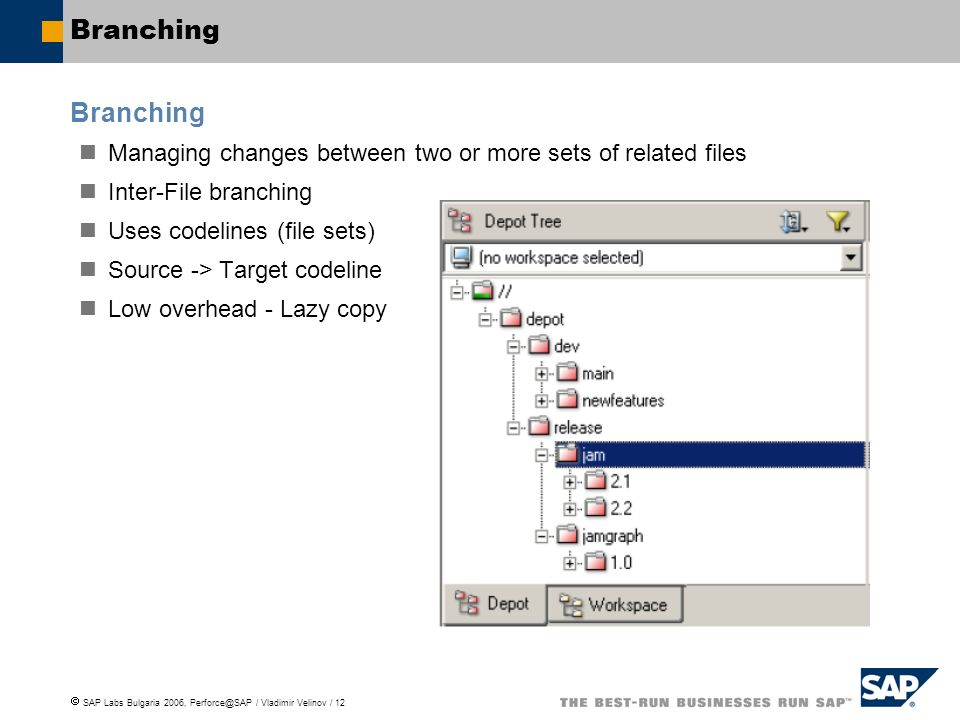 SAP Labs Bulgaria 2006, Perforce@SAP / Vladimir Velinov / 12 Branching Managing changes between two or more sets of related files Inter-File branching Uses codelines (file sets) Source -> Target codeline Low overhead - Lazy copy