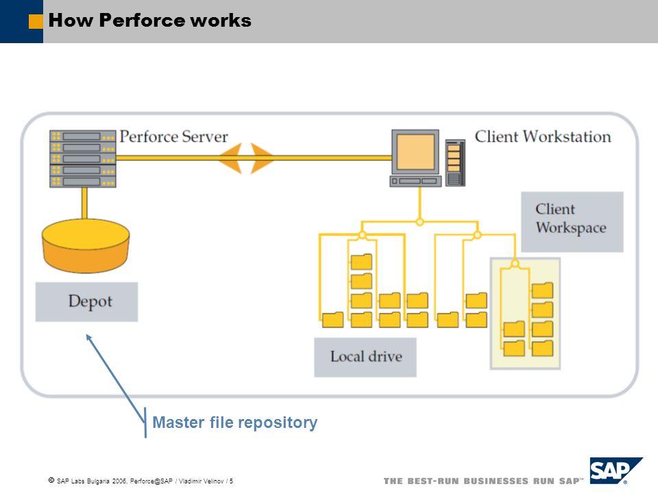 SAP Labs Bulgaria 2006, Perforce@SAP / Vladimir Velinov / 5 How Perforce works Master file repository