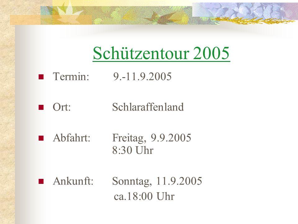 Kostenpunkt: 200 (incl.Verpflegung tagsüberund evt. 1.Abend) Bezahlt werden muss bis zum 1.8.2005 !
