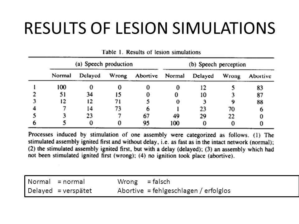 RESULTS OF LESION SIMULATIONS Normal= normal Wrong = falsch Delayed = verspätetAbortive= fehlgeschlagen / erfolglos