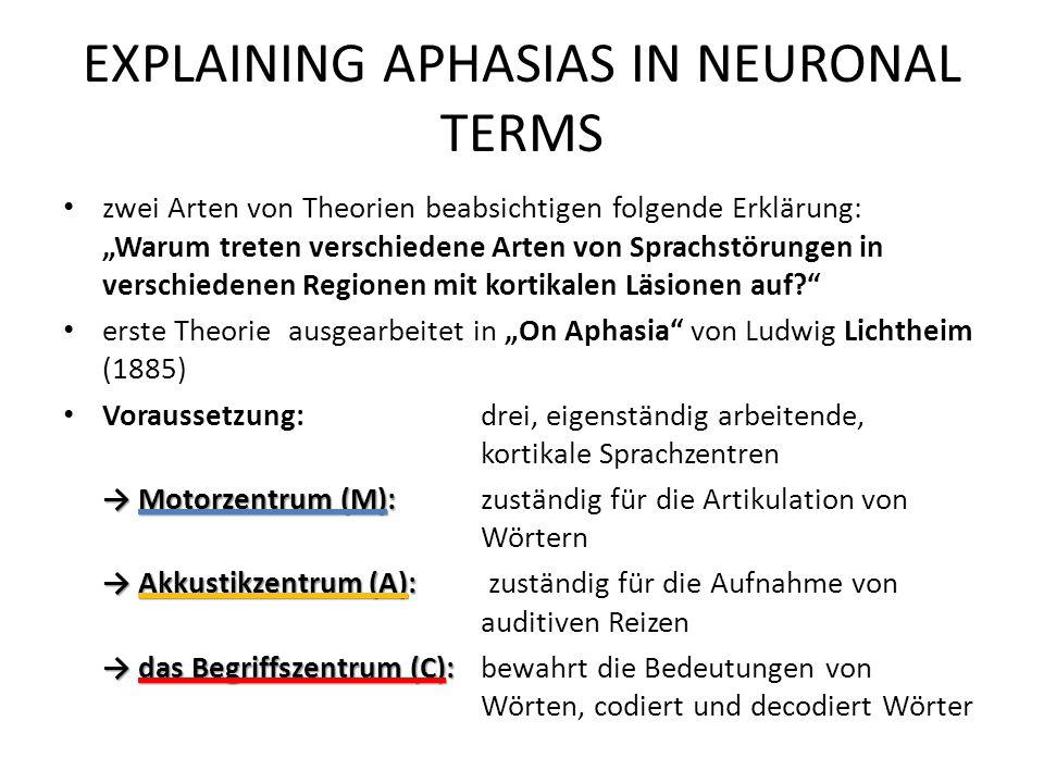 EXPLAINING APHASIAS IN NEURONAL TERMS zwei Arten von Theorien beabsichtigen folgende Erklärung: Warum treten verschiedene Arten von Sprachstörungen in