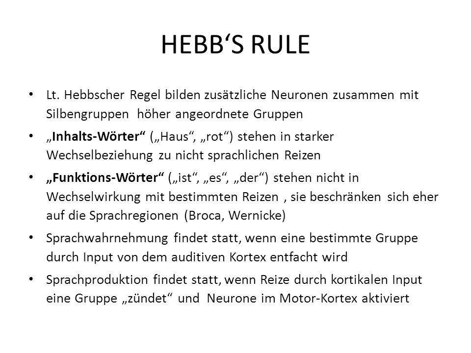 HEBBS RULE Lt. Hebbscher Regel bilden zusätzliche Neuronen zusammen mit Silbengruppen höher angeordnete Gruppen Inhalts-Wörter (Haus, rot) stehen in s