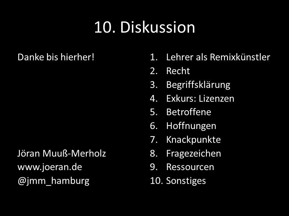 10. Diskussion Danke bis hierher! Jöran Muuß-Merholz www.joeran.de @jmm_hamburg 1.Lehrer als Remixkünstler 2.Recht 3.Begriffsklärung 4.Exkurs: Lizenze