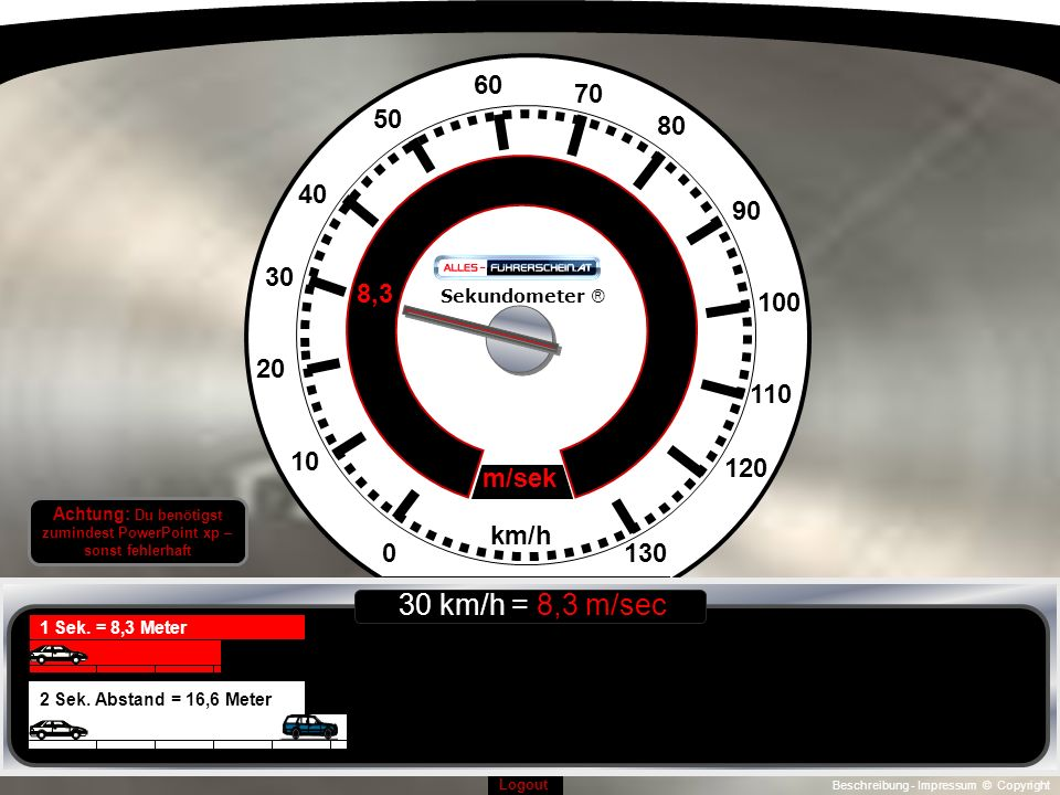Beschreibung - Impressum © Copyright Logout 0130 10 120 110 100 90 20 30 40 50 60 70 80 km/h 11,1 m/sek Sekundometer ® 1 Sek.