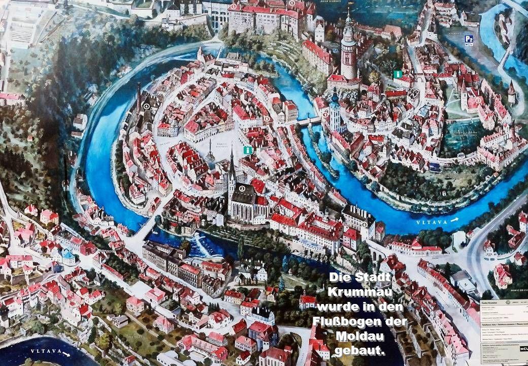 Die Stadt Krummau wurde in den Flußbogen der Moldau gebaut.