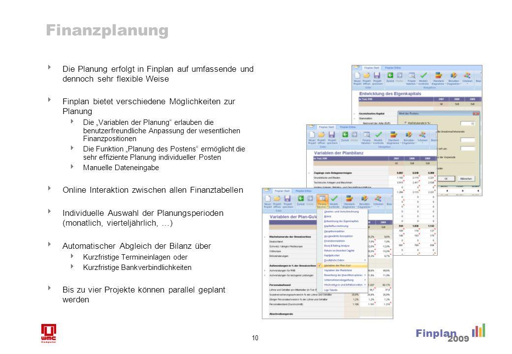 10 Finplan 2009 Finanzplanung Die Planung erfolgt in Finplan auf umfassende und dennoch sehr flexible Weise Finplan bietet verschiedene Möglichkeiten