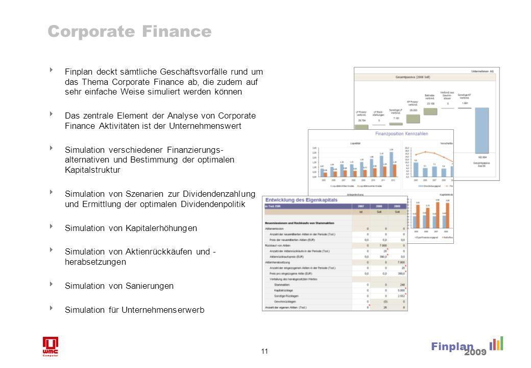11 Finplan 2009 Corporate Finance Finplan deckt sämtliche Geschäftsvorfälle rund um das Thema Corporate Finance ab, die zudem auf sehr einfache Weise