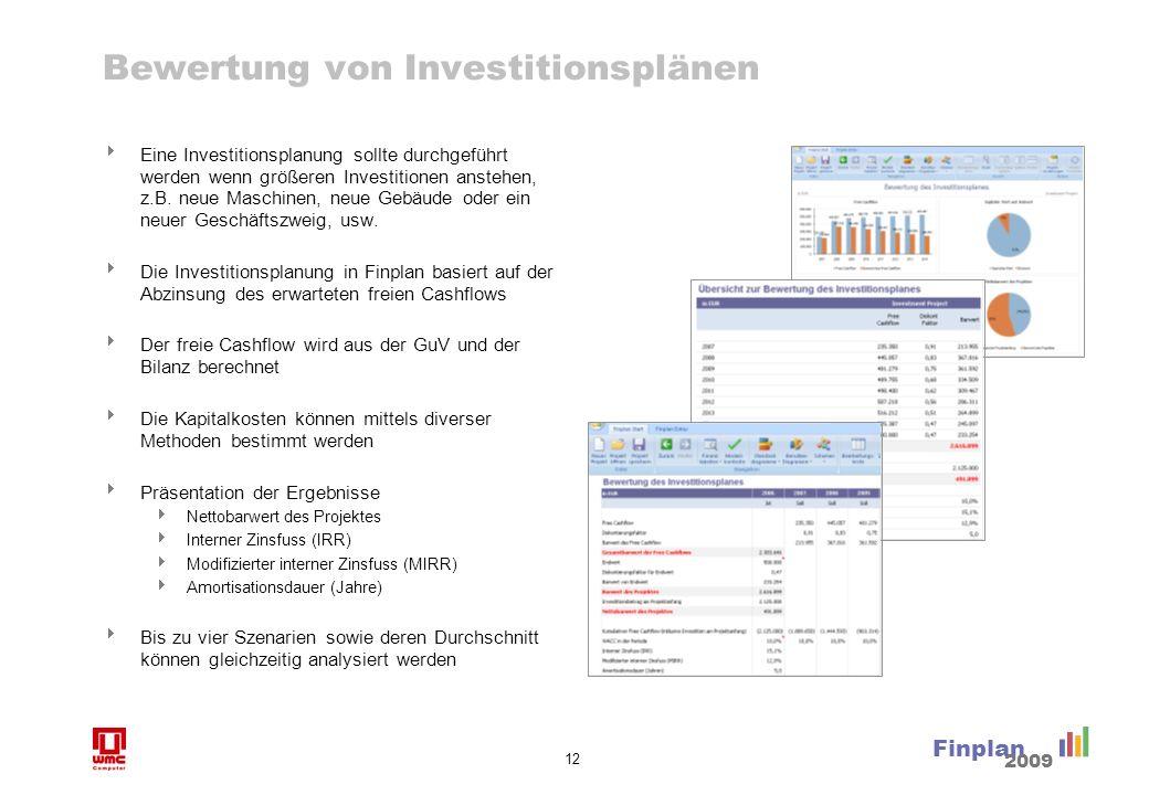 12 Finplan 2009 Bewertung von Investitionsplänen Eine Investitionsplanung sollte durchgeführt werden wenn größeren Investitionen anstehen, z.B. neue M