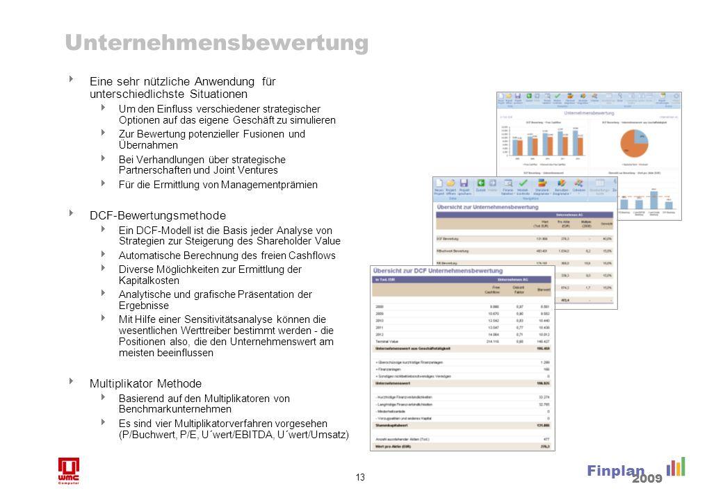 13 Finplan 2009 Unternehmensbewertung Eine sehr nützliche Anwendung für unterschiedlichste Situationen Um den Einfluss verschiedener strategischer Opt
