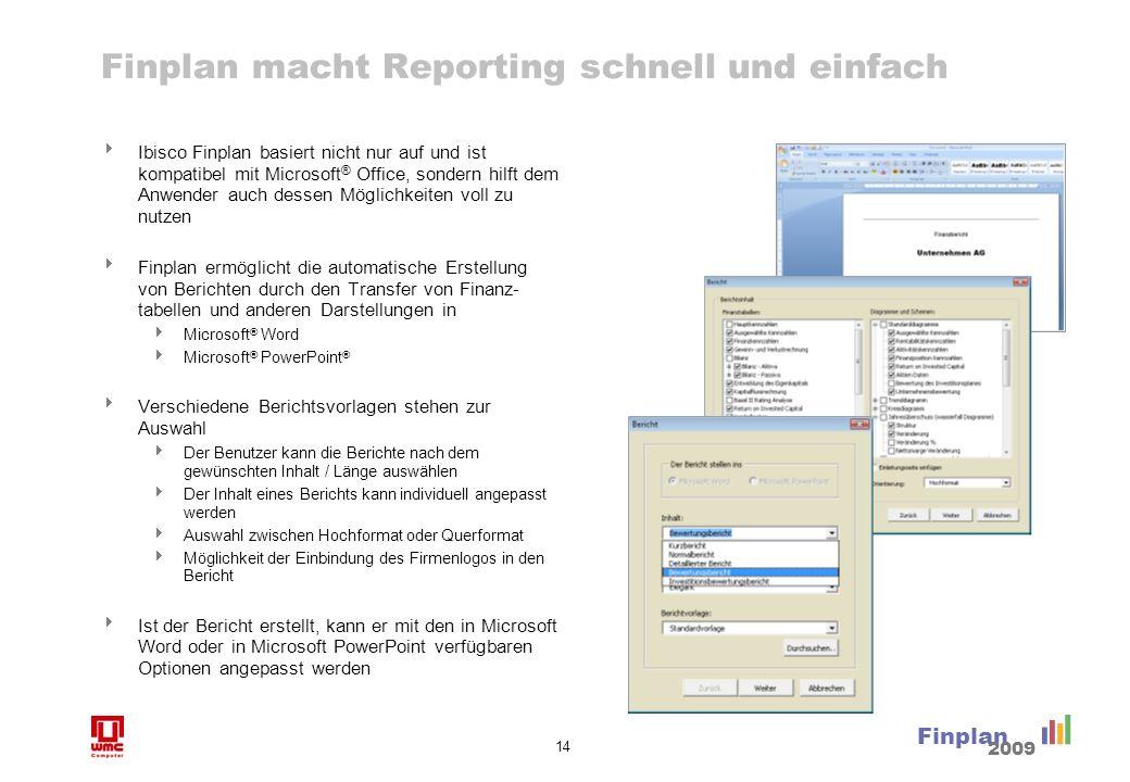 14 Finplan 2009 Finplan macht Reporting schnell und einfach Ibisco Finplan basiert nicht nur auf und ist kompatibel mit Microsoft ® Office, sondern hi