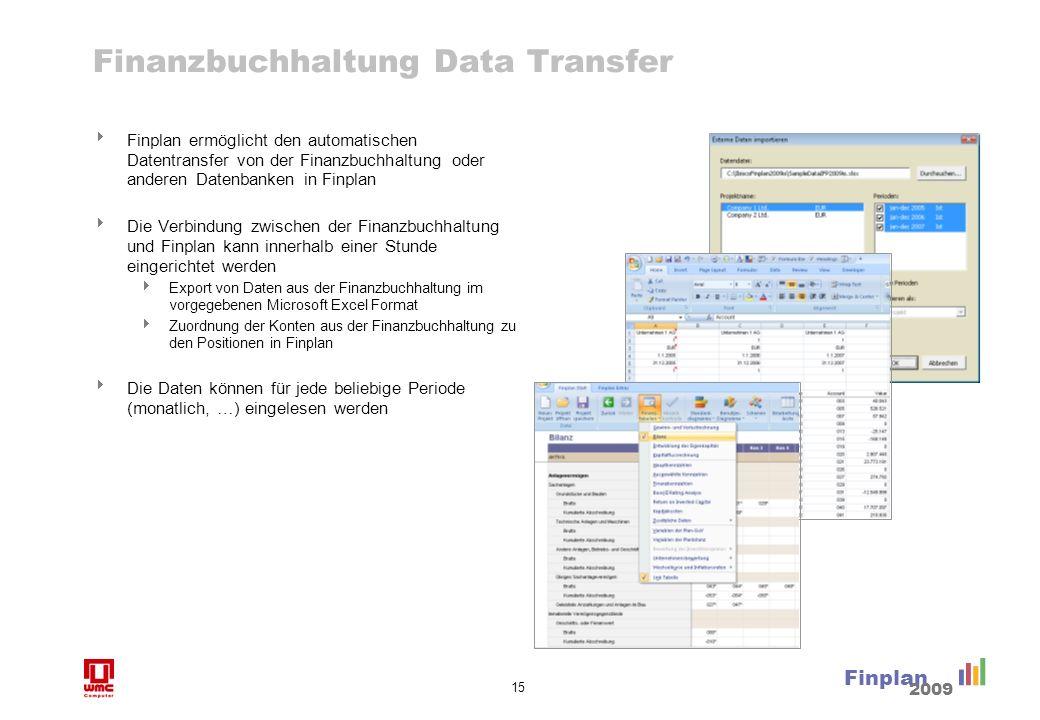 15 Finplan 2009 Finanzbuchhaltung Data Transfer Finplan ermöglicht den automatischen Datentransfer von der Finanzbuchhaltung oder anderen Datenbanken