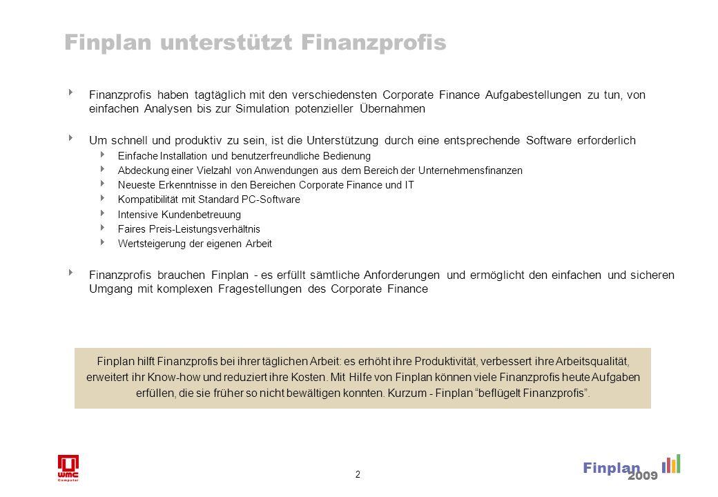 2 Finplan 2009 Finplan unterstützt Finanzprofis Finanzprofis haben tagtäglich mit den verschiedensten Corporate Finance Aufgabestellungen zu tun, von
