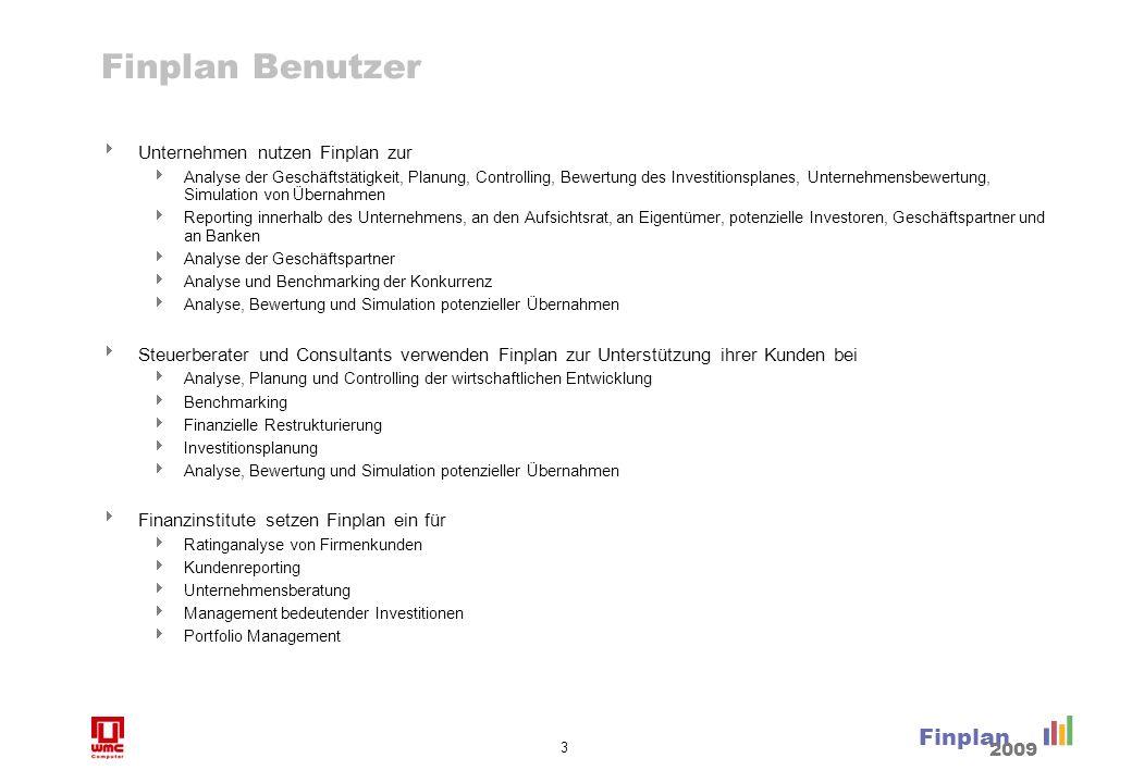 3 Finplan 2009 Finplan Benutzer Unternehmen nutzen Finplan zur Analyse der Geschäftstätigkeit, Planung, Controlling, Bewertung des Investitionsplanes,