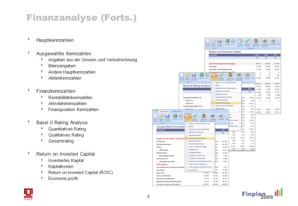 6 Finplan 2009 Finanzanalyse (Forts.) Hauptkennzahlen Ausgewählte Kennzahlen Angaben aus der Gewinn- und Verlustrechnung Bilanzangaben Andere Hauptken