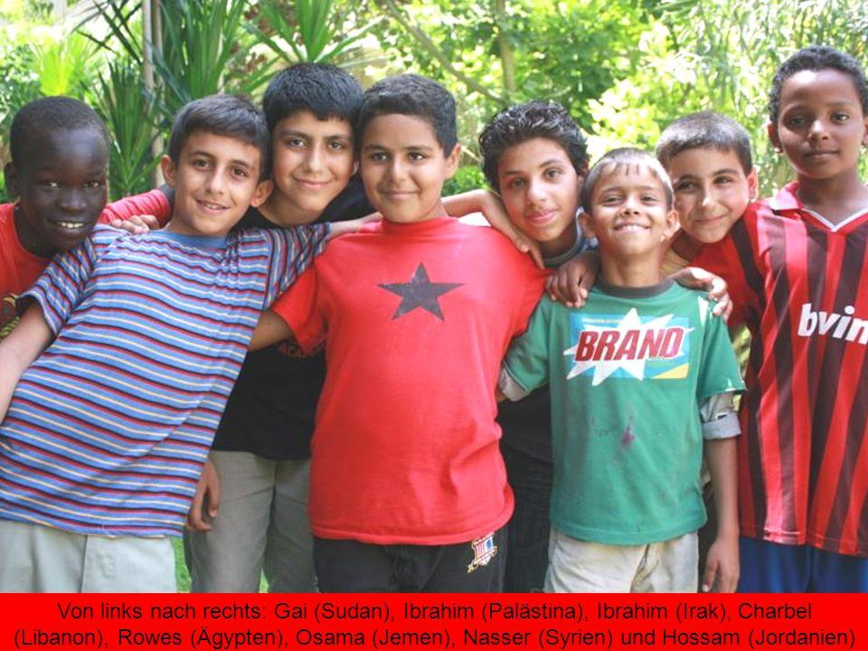 Von links nach rechts: Gai (Sudan), Ibrahim (Palästina), Ibrahim (Irak), Charbel (Libanon), Rowes (Ägypten), Osama (Jemen), Nasser (Syrien) und Hossam (Jordanien)