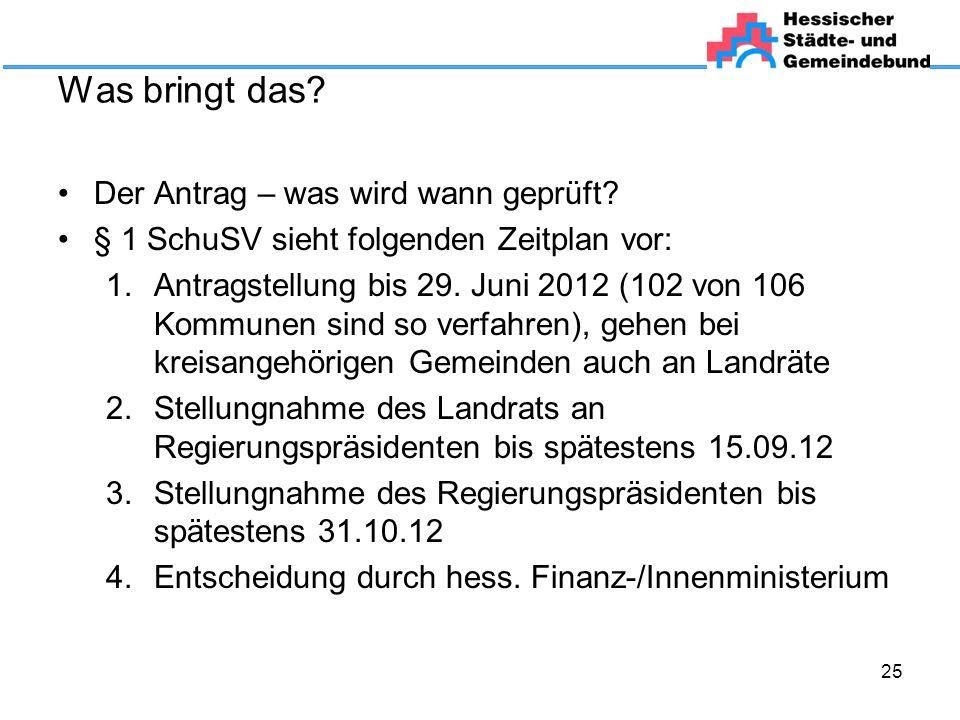Was bringt das? Der Antrag – was wird wann geprüft? § 1 SchuSV sieht folgenden Zeitplan vor: 1.Antragstellung bis 29. Juni 2012 (102 von 106 Kommunen