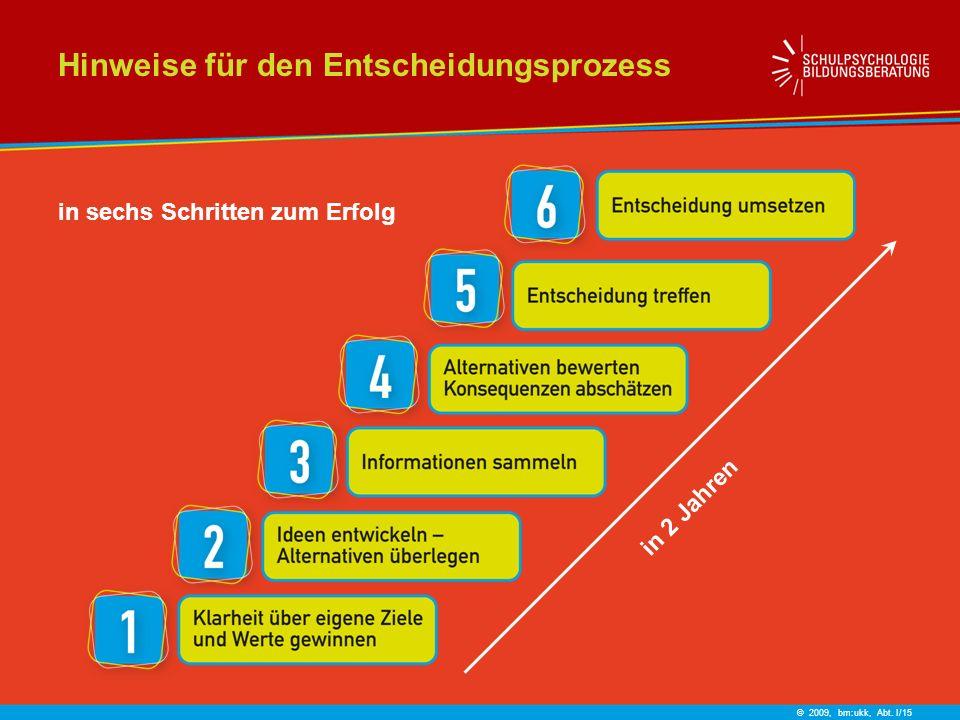 © 2009, bm:ukk, Abt. I/15 Hinweise für den Entscheidungsprozess in sechs Schritten zum Erfolg in 2 Jahren