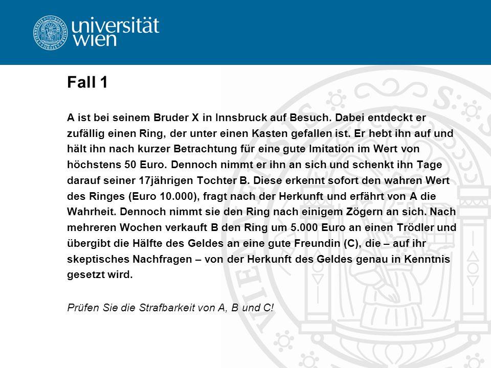 Fall 1 A ist bei seinem Bruder X in Innsbruck auf Besuch.