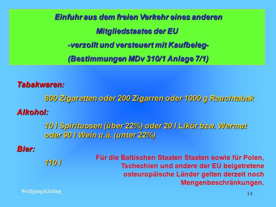 Wolfgang Kösling 14 Einfuhr aus dem freien Verkehr eines anderen Einfuhr aus dem freien Verkehr eines anderen Mitgliedstaates der EU -verzollt und ver
