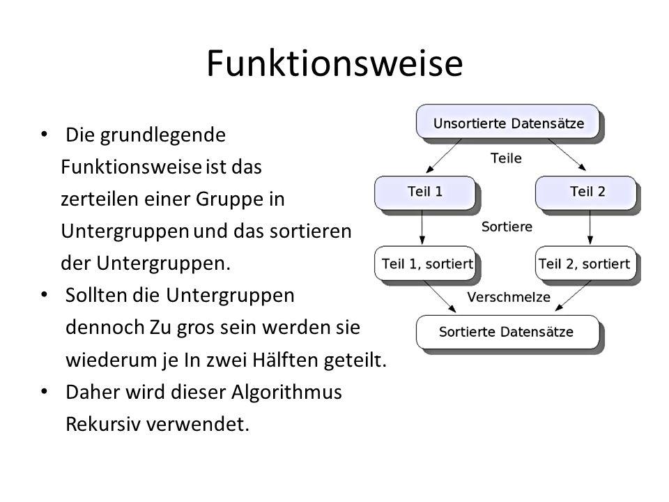 Funktionsweise Die grundlegende Funktionsweise ist das zerteilen einer Gruppe in Untergruppen und das sortieren der Untergruppen. Sollten die Untergru
