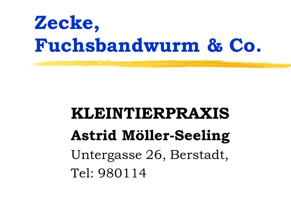Zecke, Fuchsbandwurm & Co. KLEINTIERPRAXIS Astrid Möller-Seeling Untergasse 26, Berstadt, Tel: 980114