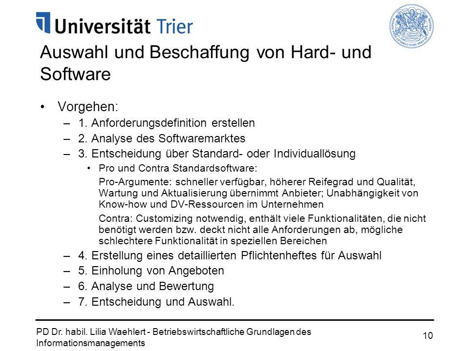 PD Dr. habil. Lilia Waehlert - Betriebswirtschaftliche Grundlagen des Informationsmanagements 10 Auswahl und Beschaffung von Hard- und Software Vorgeh