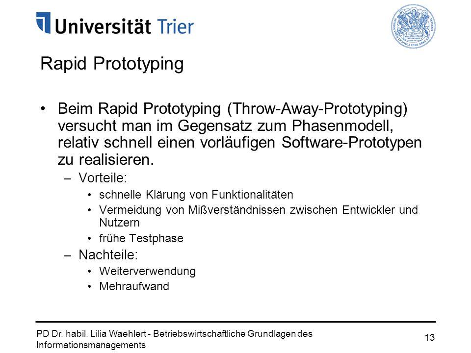PD Dr. habil. Lilia Waehlert - Betriebswirtschaftliche Grundlagen des Informationsmanagements 13 Rapid Prototyping Beim Rapid Prototyping (Throw-Away-