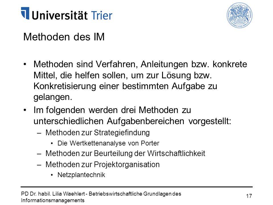 PD Dr. habil. Lilia Waehlert - Betriebswirtschaftliche Grundlagen des Informationsmanagements 17 Methoden des IM Methoden sind Verfahren, Anleitungen