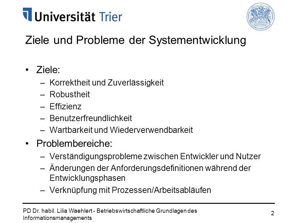 PD Dr. habil. Lilia Waehlert - Betriebswirtschaftliche Grundlagen des Informationsmanagements 2 Ziele und Probleme der Systementwicklung Ziele: –Korre