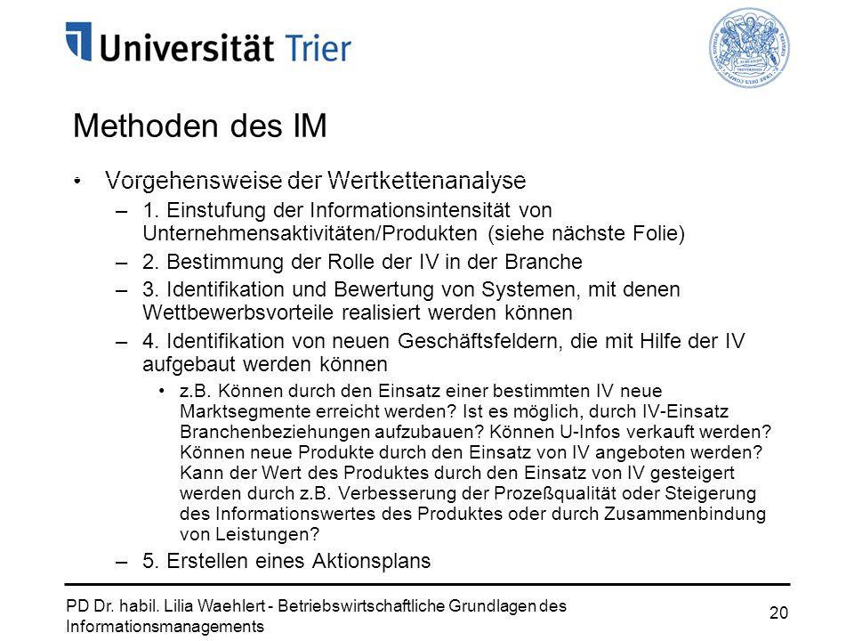 PD Dr. habil. Lilia Waehlert - Betriebswirtschaftliche Grundlagen des Informationsmanagements 20 Vorgehensweise der Wertkettenanalyse –1. Einstufung d