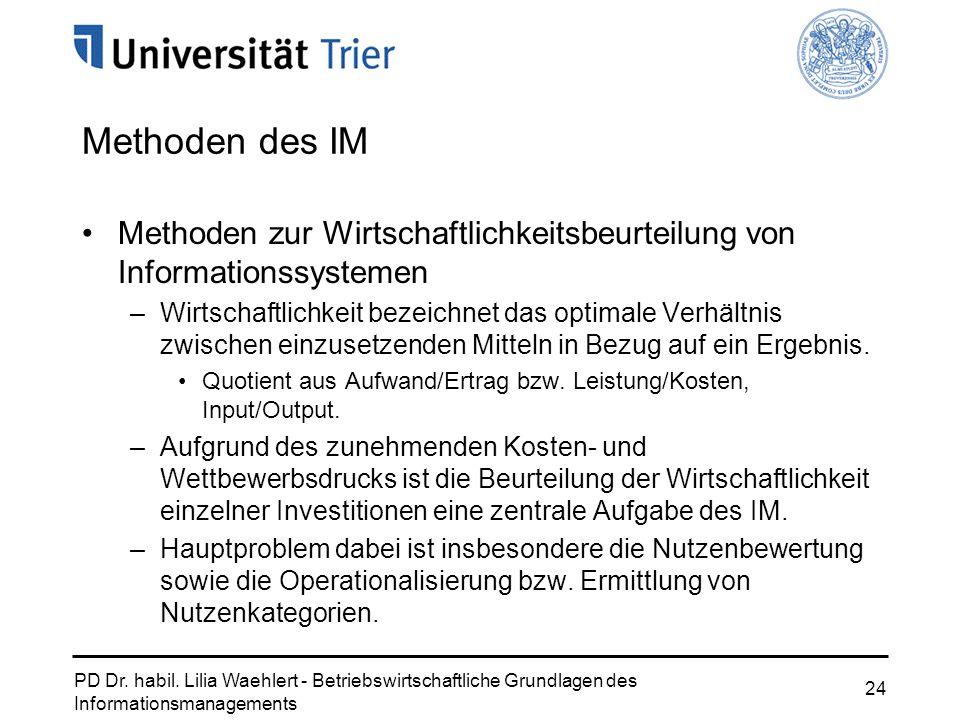 PD Dr. habil. Lilia Waehlert - Betriebswirtschaftliche Grundlagen des Informationsmanagements 24 Methoden des IM Methoden zur Wirtschaftlichkeitsbeurt