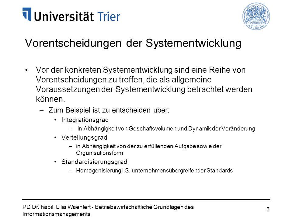 PD Dr. habil. Lilia Waehlert - Betriebswirtschaftliche Grundlagen des Informationsmanagements 3 Vor der konkreten Systementwicklung sind eine Reihe vo