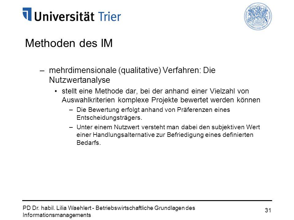 PD Dr. habil. Lilia Waehlert - Betriebswirtschaftliche Grundlagen des Informationsmanagements 31 Methoden des IM –mehrdimensionale (qualitative) Verfa