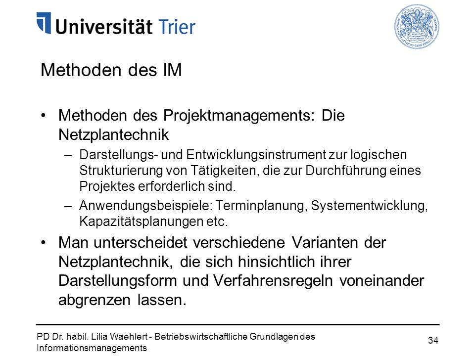 PD Dr. habil. Lilia Waehlert - Betriebswirtschaftliche Grundlagen des Informationsmanagements 34 Methoden des Projektmanagements: Die Netzplantechnik