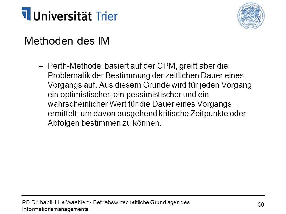 PD Dr. habil. Lilia Waehlert - Betriebswirtschaftliche Grundlagen des Informationsmanagements 36 Methoden des IM –Perth-Methode: basiert auf der CPM,
