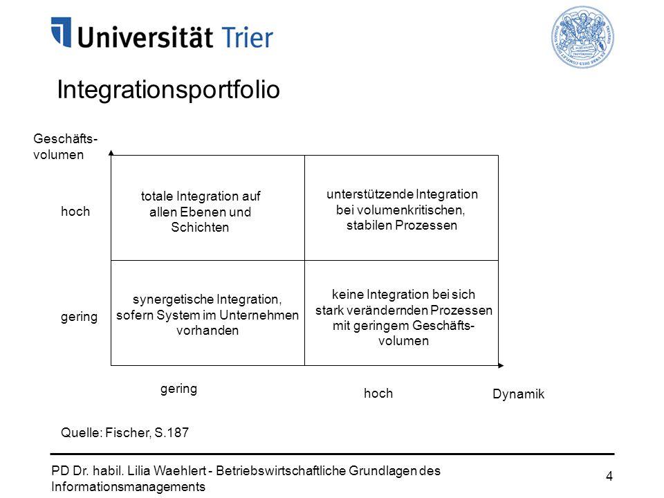 PD Dr. habil. Lilia Waehlert - Betriebswirtschaftliche Grundlagen des Informationsmanagements 4 Integrationsportfolio gering hoch gering hoch totale I