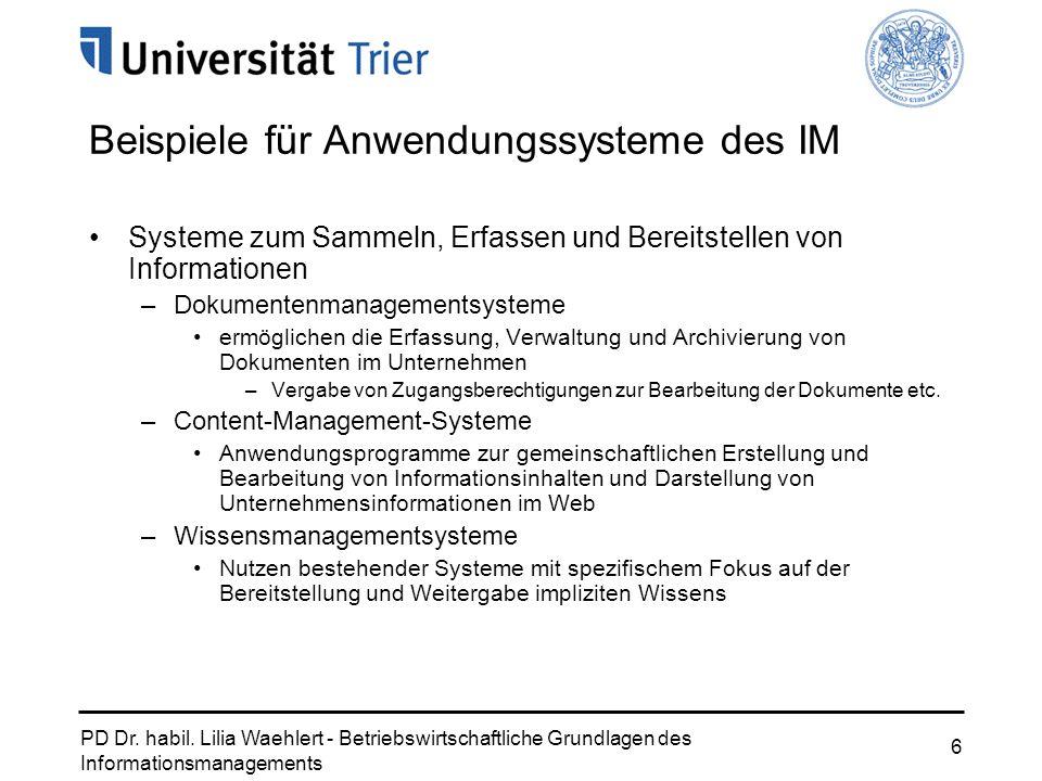 PD Dr. habil. Lilia Waehlert - Betriebswirtschaftliche Grundlagen des Informationsmanagements 6 Beispiele für Anwendungssysteme des IM Systeme zum Sam