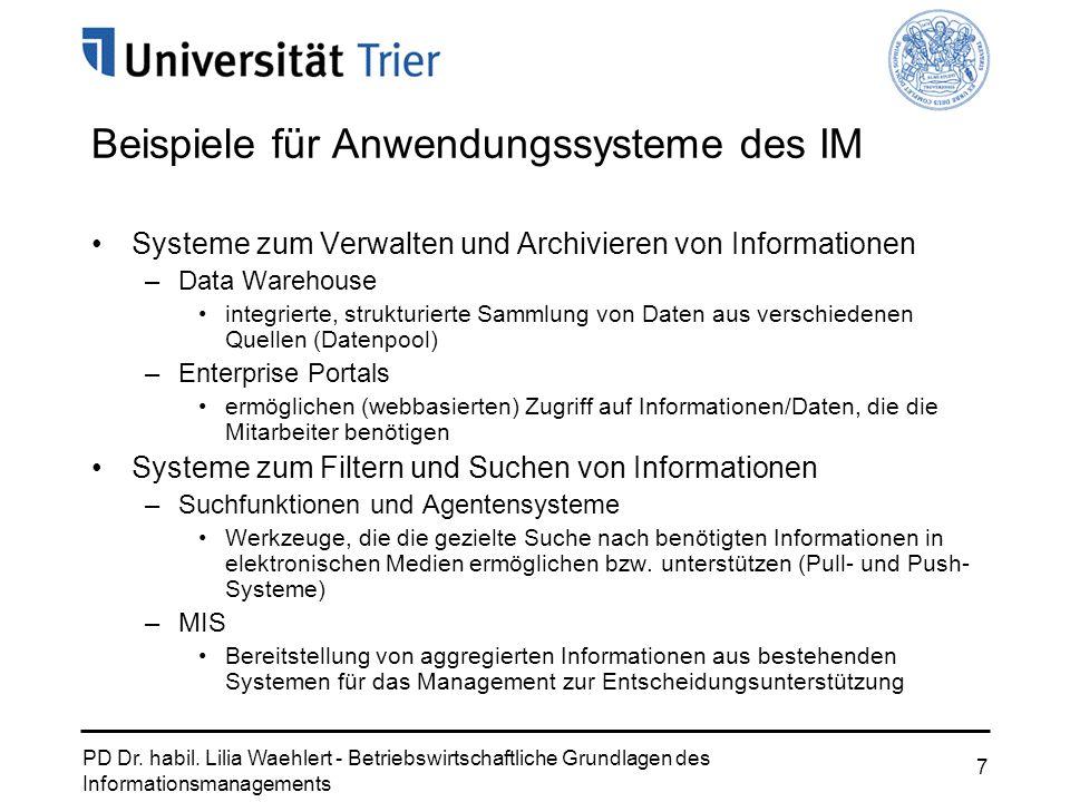 PD Dr. habil. Lilia Waehlert - Betriebswirtschaftliche Grundlagen des Informationsmanagements 7 Beispiele für Anwendungssysteme des IM Systeme zum Ver