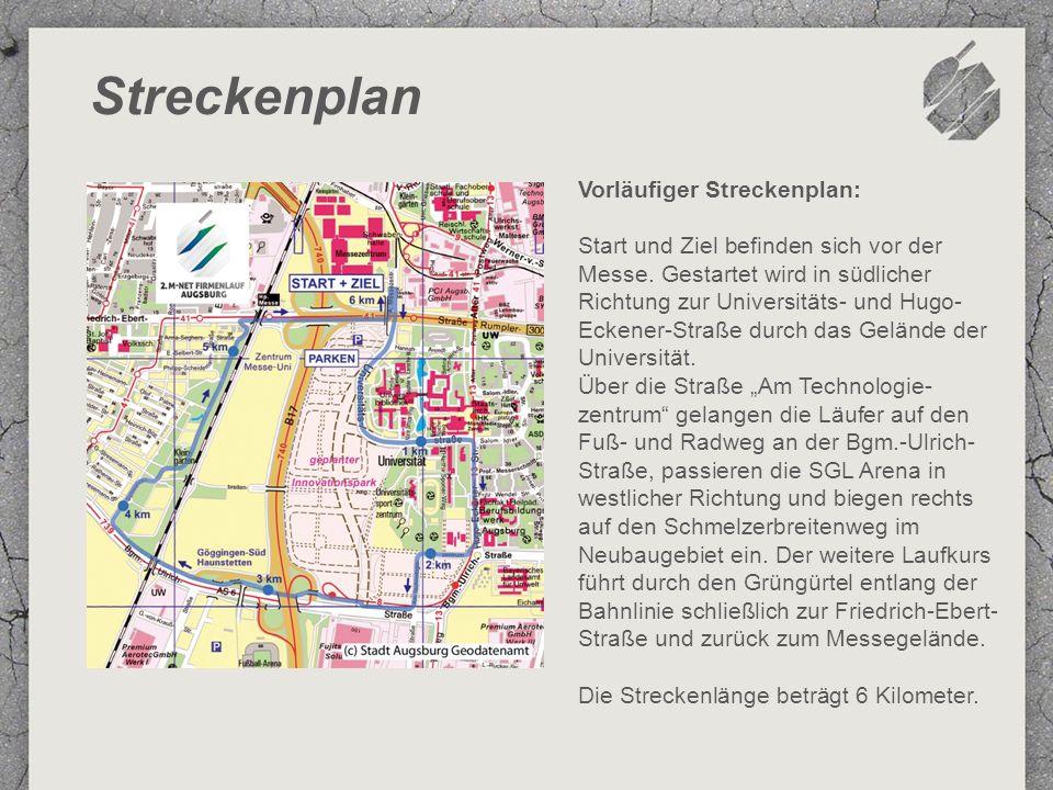 Streckenplan Vorläufiger Streckenplan: Start und Ziel befinden sich vor der Messe.