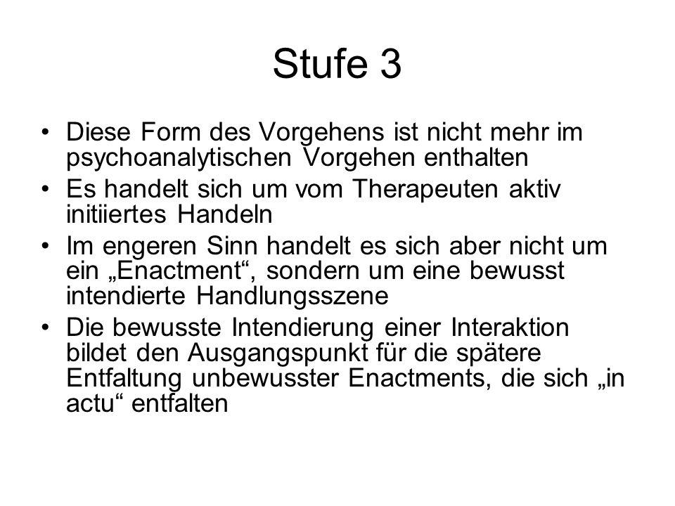 Stufe 3 Diese Form des Vorgehens ist nicht mehr im psychoanalytischen Vorgehen enthalten Es handelt sich um vom Therapeuten aktiv initiiertes Handeln