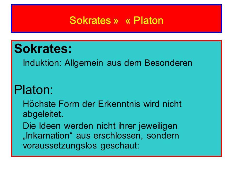 Sokrates » « Platon Sokrates: Induktion: Allgemein aus dem Besonderen Platon: Höchste Form der Erkenntnis wird nicht abgeleitet. Die Ideen werden nich