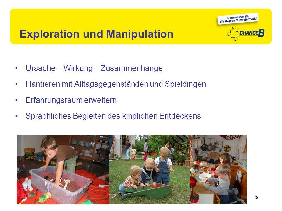 Exploration und Manipulation 5 Ursache – Wirkung – Zusammenhänge Hantieren mit Alltagsgegenständen und Spieldingen Erfahrungsraum erweitern Sprachlich