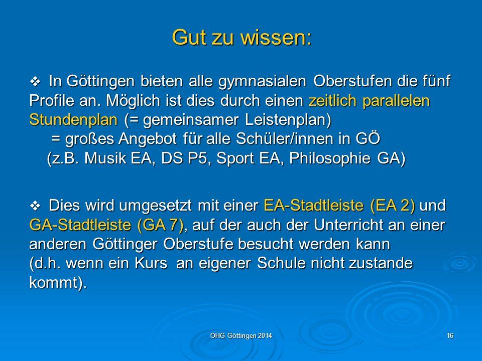 OHG Göttingen 201415 Wochenstundenzahl in der Q-Phase Mind.
