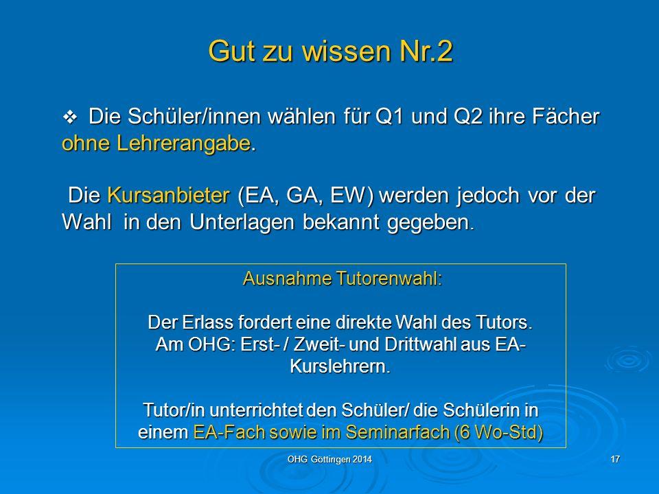 OHG Göttingen 201416 Gut zu wissen: In Göttingen bieten alle gymnasialen Oberstufen die fünf Profile an.