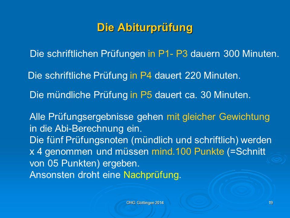 OHG Göttingen 201418 Mindest-Einbringungsverpflichtungen für die Zulassung zur Abiturprüfung Block I der Gesamtqualifikation (Kursnoten) 1.