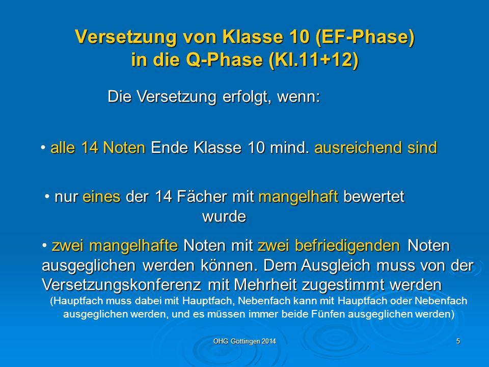 OHG Göttingen 20144 Die Sekundarstufe 2 besteht aus Einführungsphase Klasse 10 Q 1 = 1.
