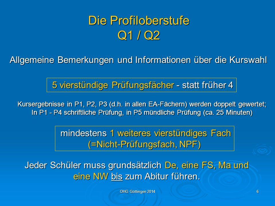 OHG Göttingen 20145 Versetzung von Klasse 10 (EF-Phase) in die Q-Phase (Kl.11+12) Die Versetzung erfolgt, wenn: alle 14 Noten Ende Klasse 10 mind.
