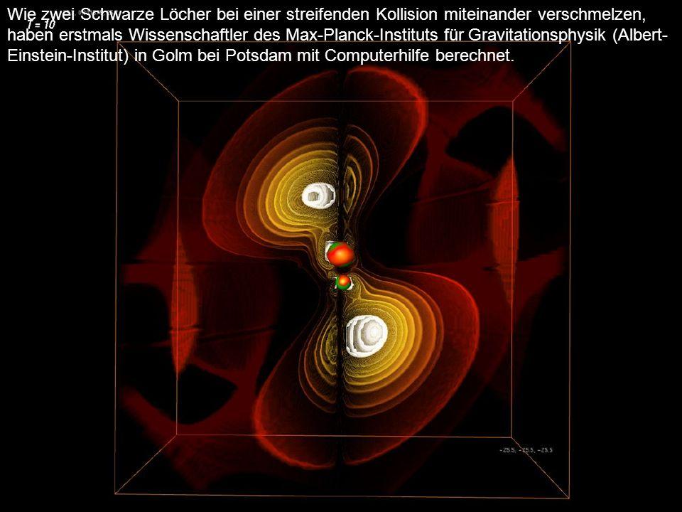 Abbildung II: Während der Kollision senden die Schwarzen Löcher große Energiemengen in Form von Gravitationswellen in das All. In einiger Entfernung v
