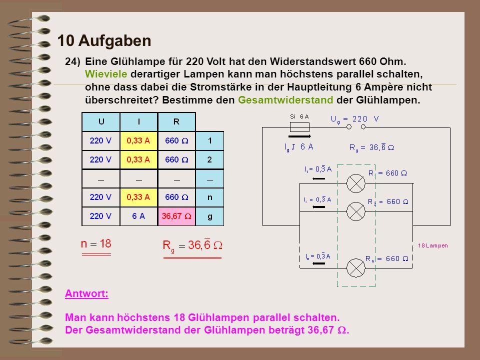 24)Eine Glühlampe für 220 Volt hat den Widerstandswert 660 Ohm.