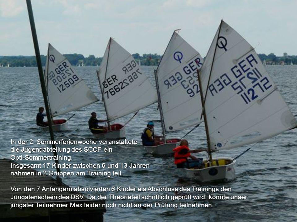 In der 2. Sommerferienwoche veranstaltete die Jugendabteilung des SCCF ein Opti-Sommertraining. Insgesamt 17 Kinder zwischen 6 und 13 Jahren nahmen in